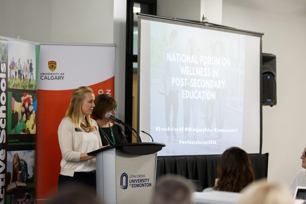 "Two people standing at a podium with microphones with roll-up screen behind them. The screen reads ""National Forum on Wellness in Post-Secondary Education""."