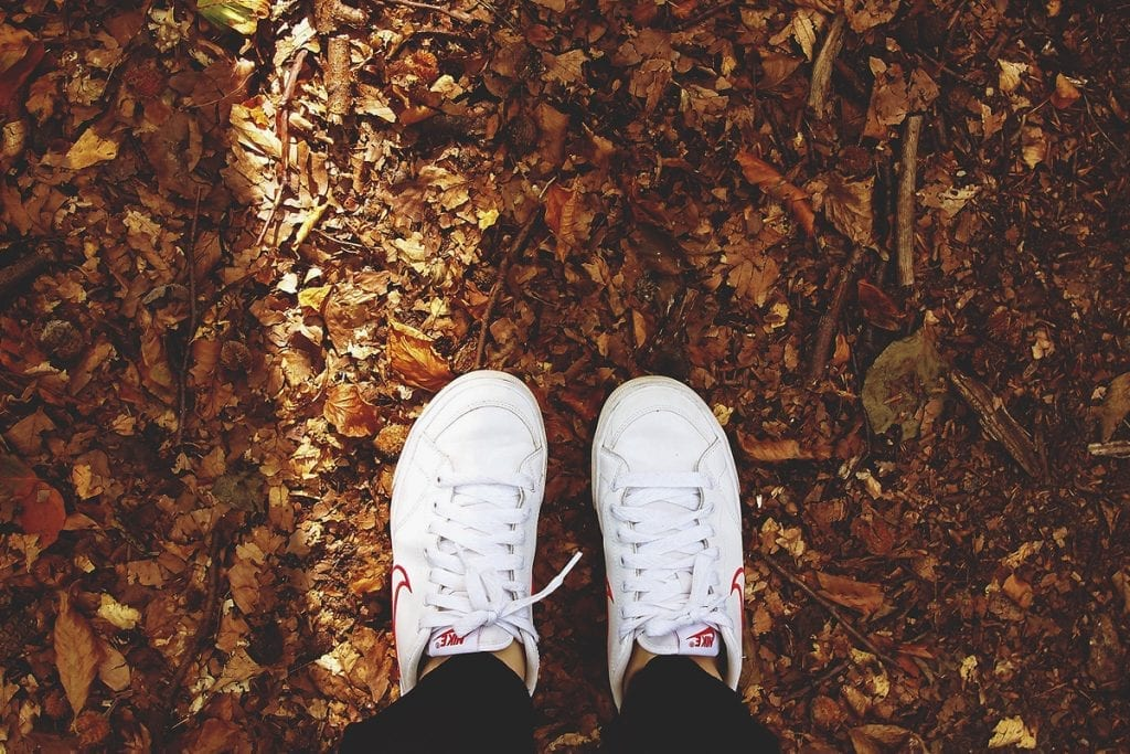 walking/standing in leaves