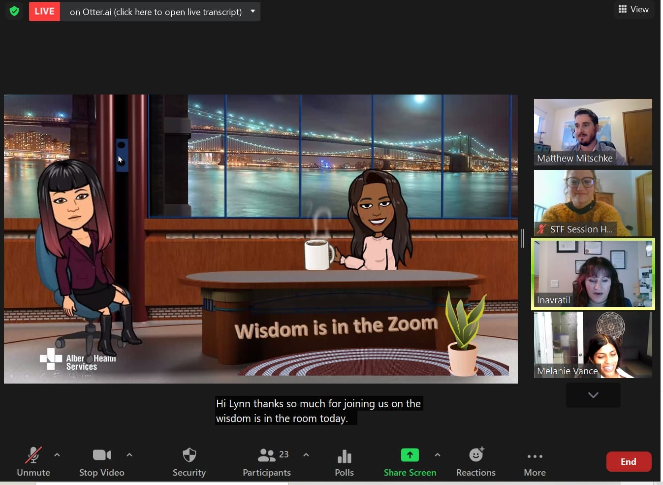 """Wisdom is in the Zoom"" virtual session set up like a talk show featuring presenter Bitmojis"