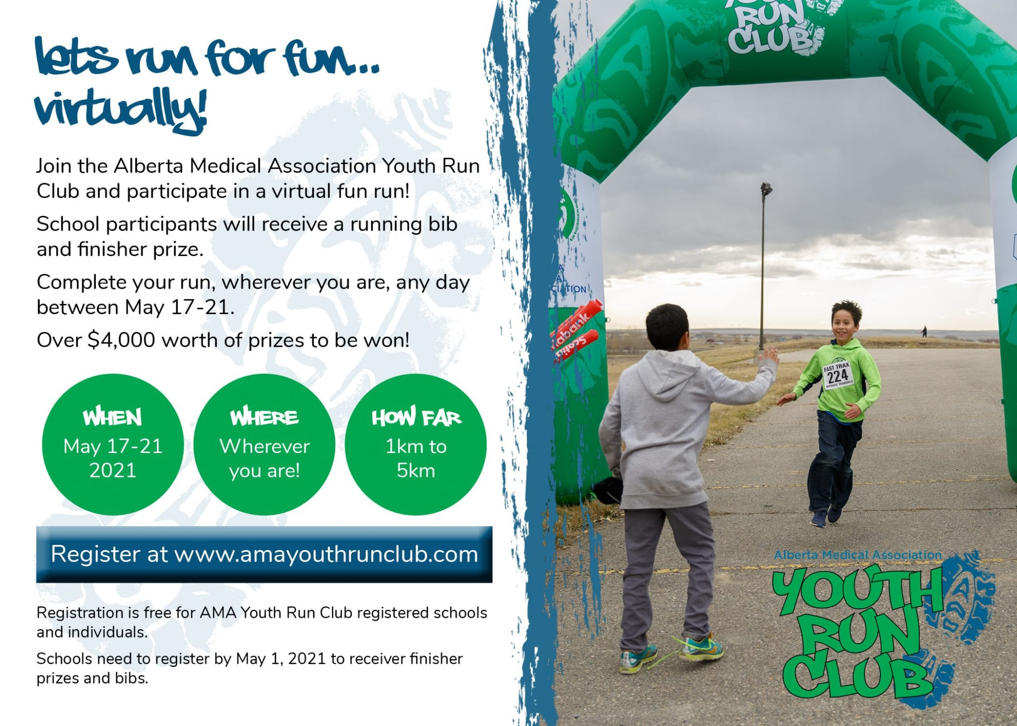 Graphic with virtual fun run text on left side and photo of a student running through a green arch, reaching for a high-five from a peer.