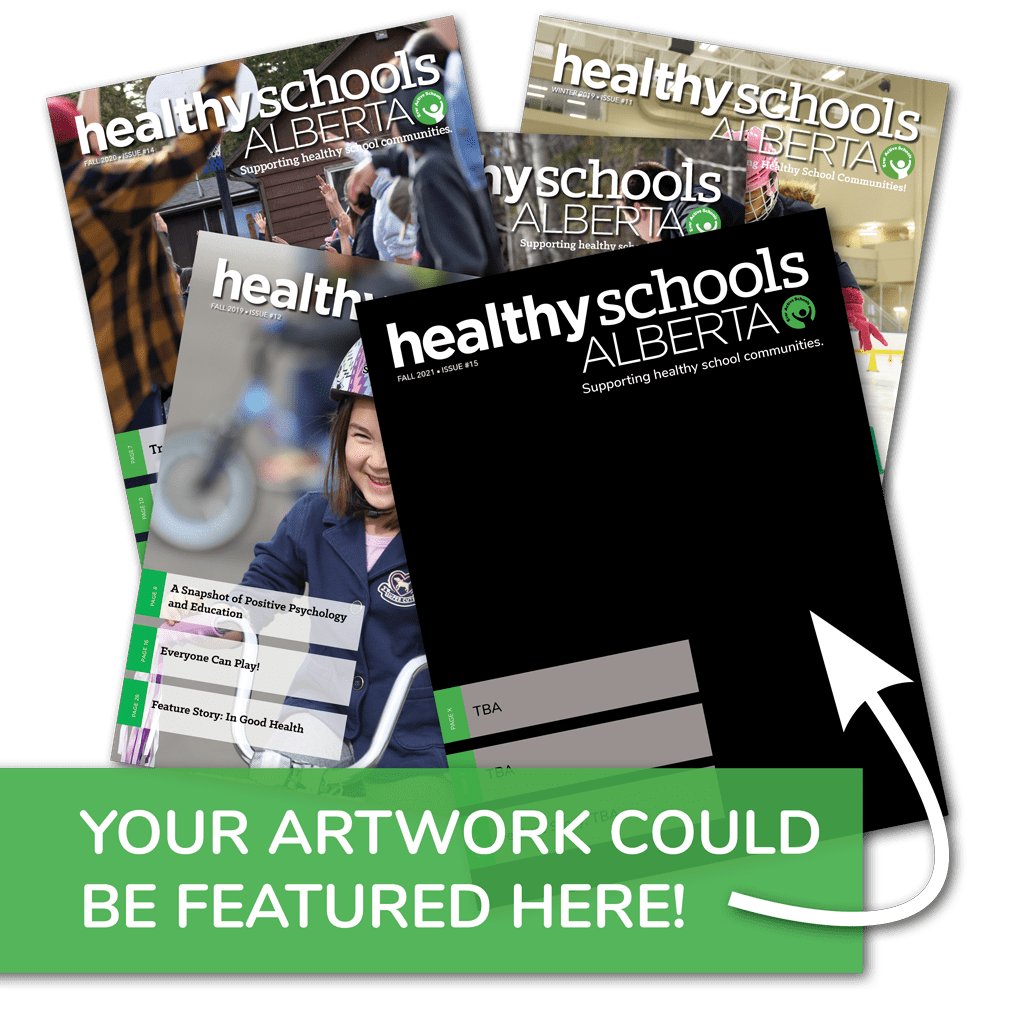 """Graphic featuring multiple magazine covers and one with a plain black background. Caption on image says """"Your artwork could be featured here!"""" with an arrow pointing to the black page."""