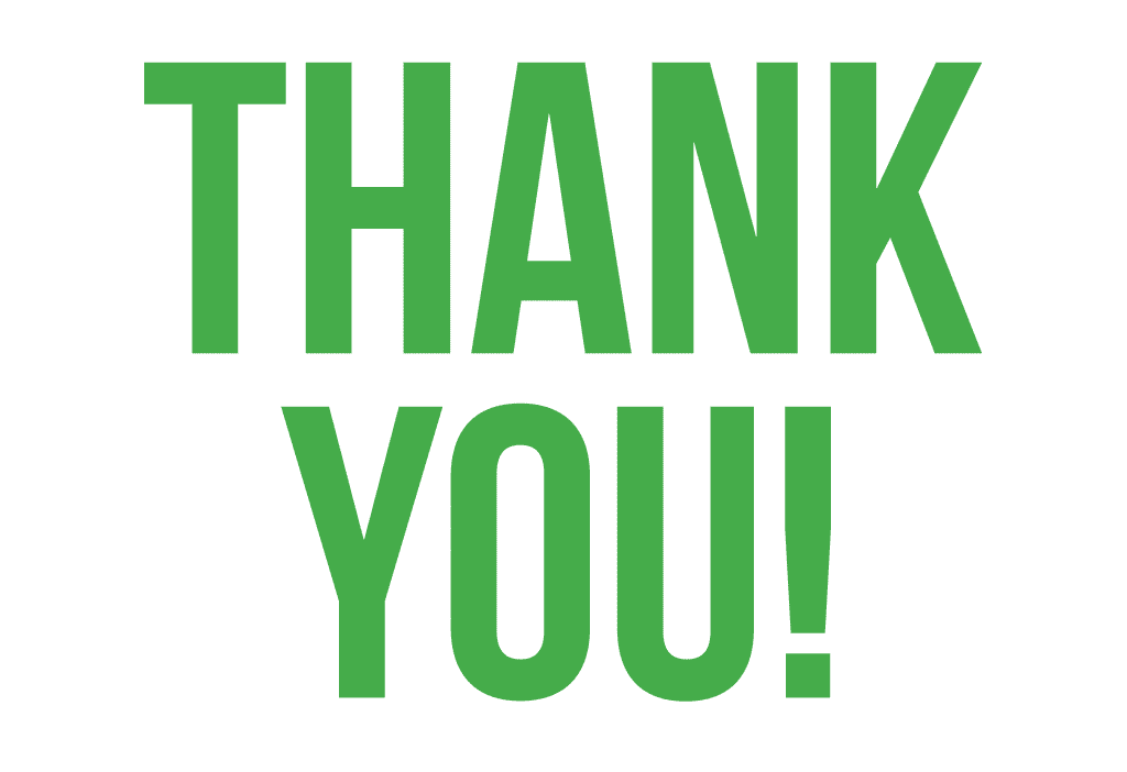 Thank you in green centred on a white background